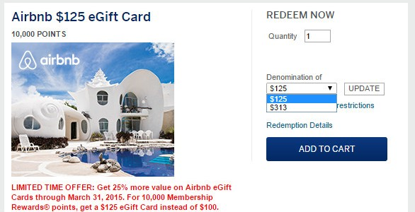 Airbnb eGift Cards. Bonus 25% for AMEX Membership Rewards